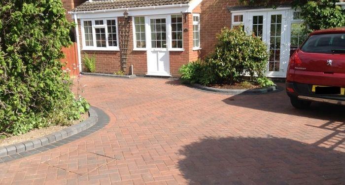 red brick paving driveway