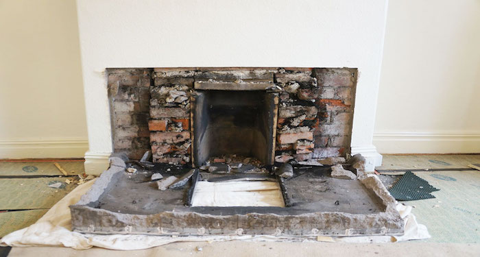 image of removed fire place