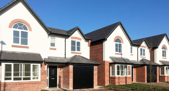 row of new build houses