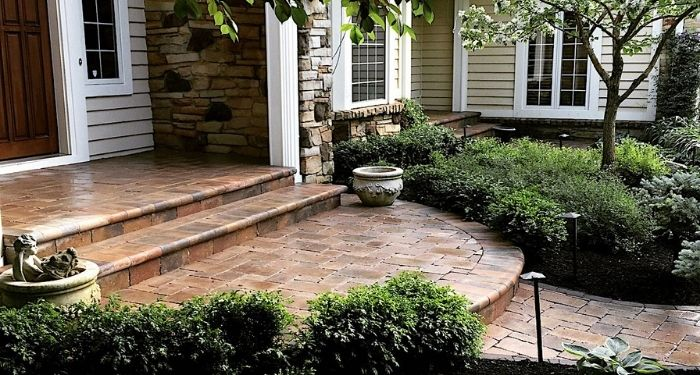 brown paving stone steps