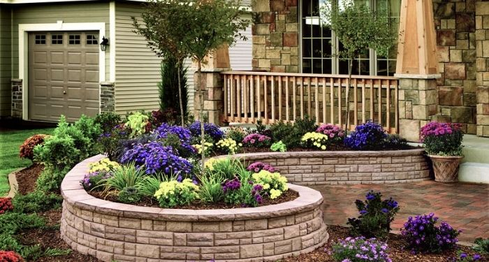 stone wall flower bed