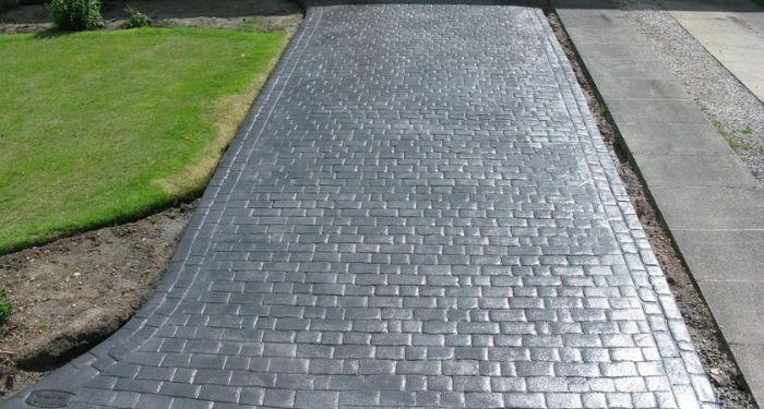 grey imprinted concrete driveway