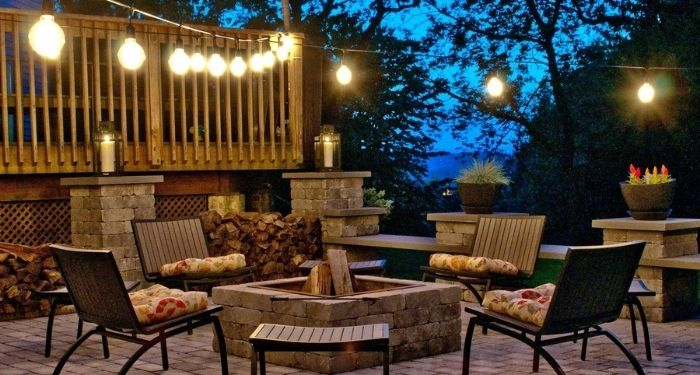 outdoor lighting and patio furniture