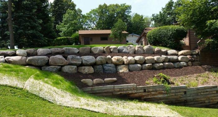 large natural stone wall
