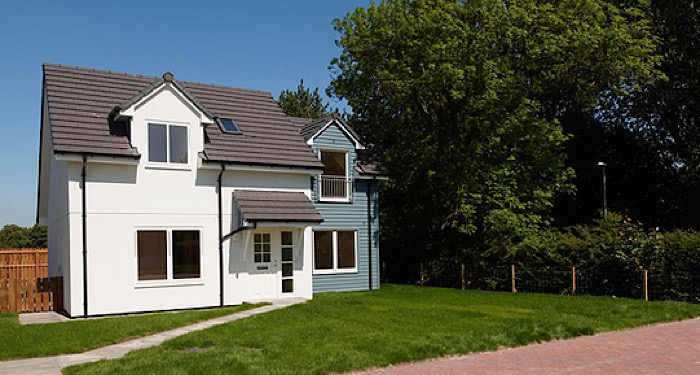 white and blue detached house