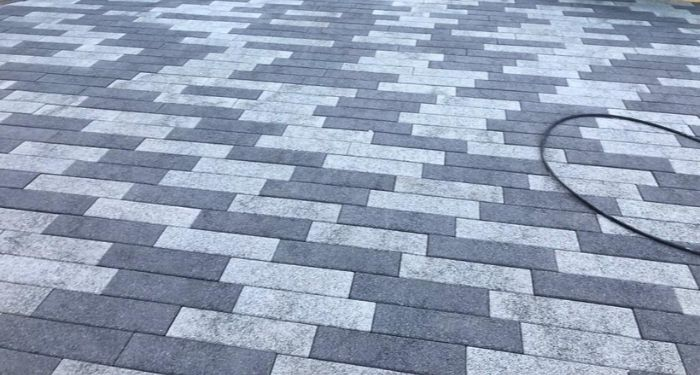 close up of grey block paving drive