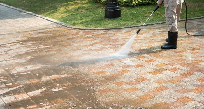 cleaning block paving patio