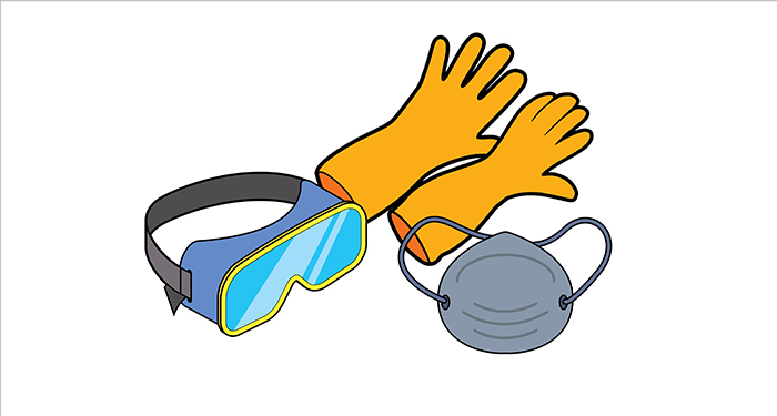 gloves, face mask & goggles