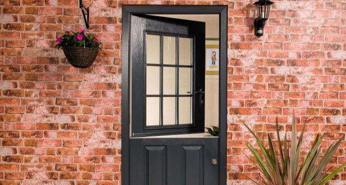 image of a black cottage door