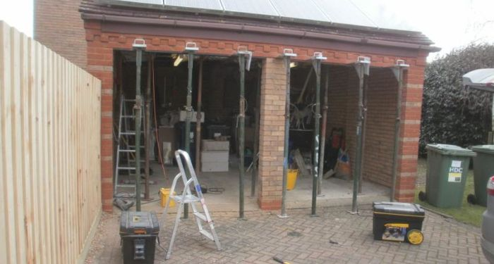 double garage being converted