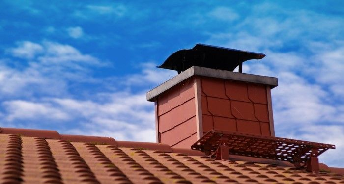 chimney with a chimney cowl