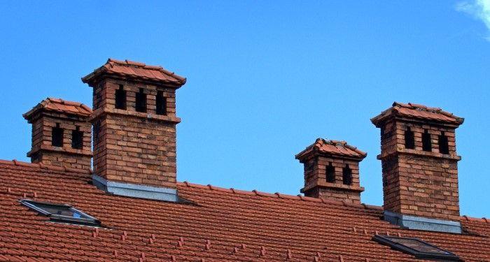 multiple brick chimnies