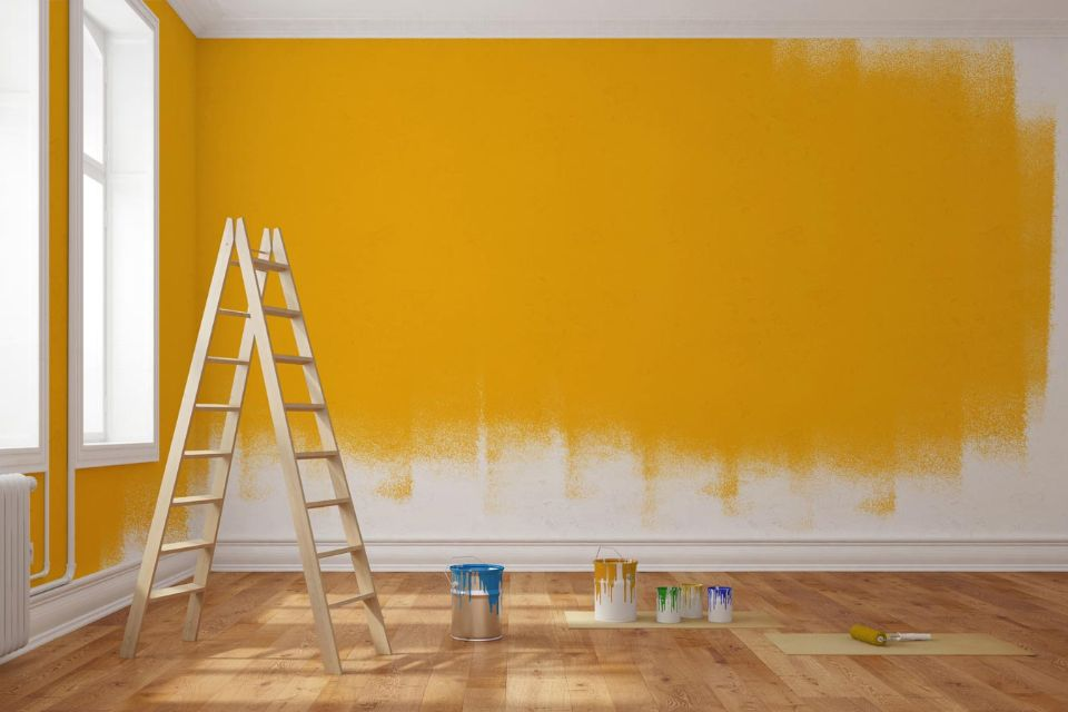 yellow paint on wall